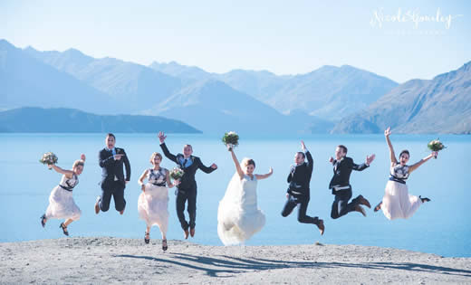Wanaka Wedding Party Jumping