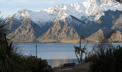 View of Lake Hawea hotel on the shores of Lake Hawea