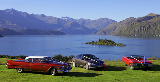 Jaguar and Cadillac Wanaka Wedding tranport